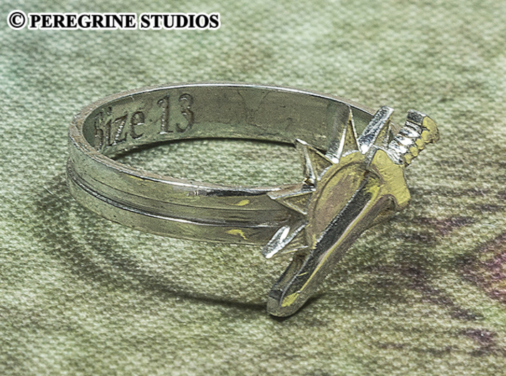 Ring - Argent Dawn Signet (Size 13) 3d printed Premium Silver