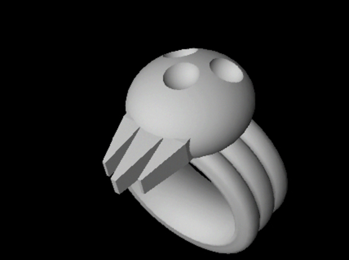 BJD, Triple Band Skull Cosplay Ring, size 9 3d printed