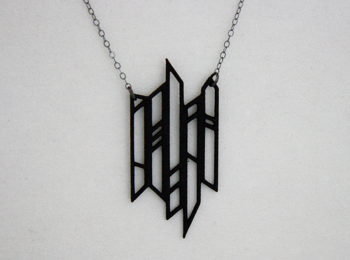 Abstract Fence Pendant 3d printed Abstract Fence Pendant in Black Strong & Flexible Plastic