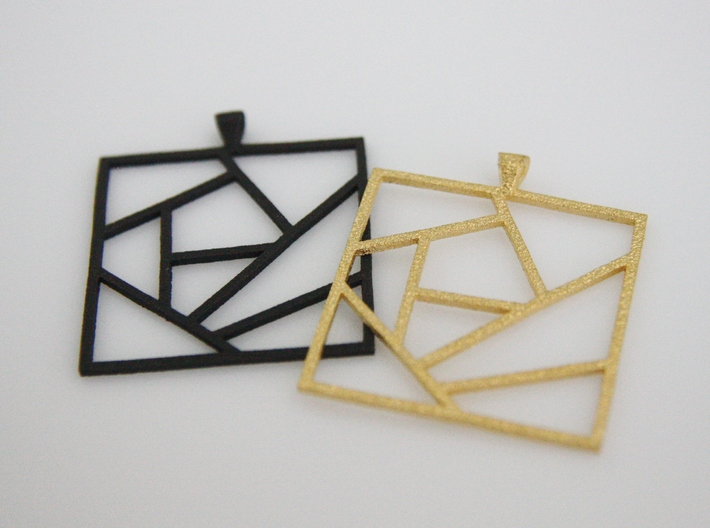 Crazy Quilt Pendant - Thicker Lines 3d printed This shows Matte Black Steel and Polished Gold Steel