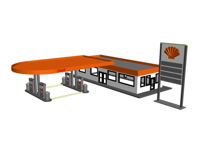 Shell Gas Station Z Scale 3d printed 3D drawing