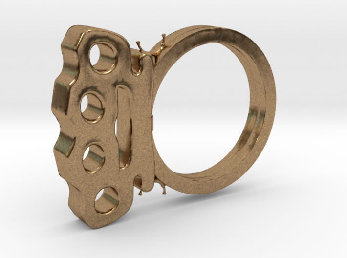 Brass Knuckles Ring 3d printed
