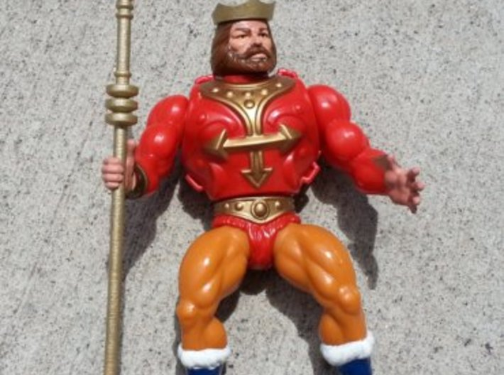 Replacement crown and spear for 1980s King Randor 3d printed Painted gold