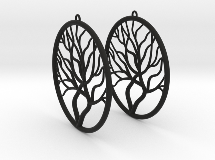 Tree Big Hoop Earrings 60mm 3d printed