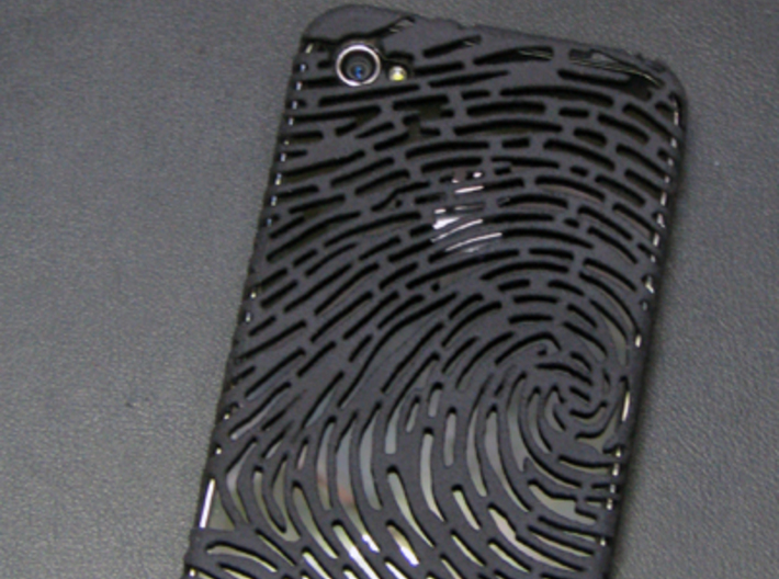 IPhone 4/4S - Finger print Case 3d printed Black Strong & Flexible