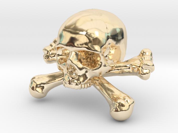 12mm .47in Skull & Bones for earring 3d printed