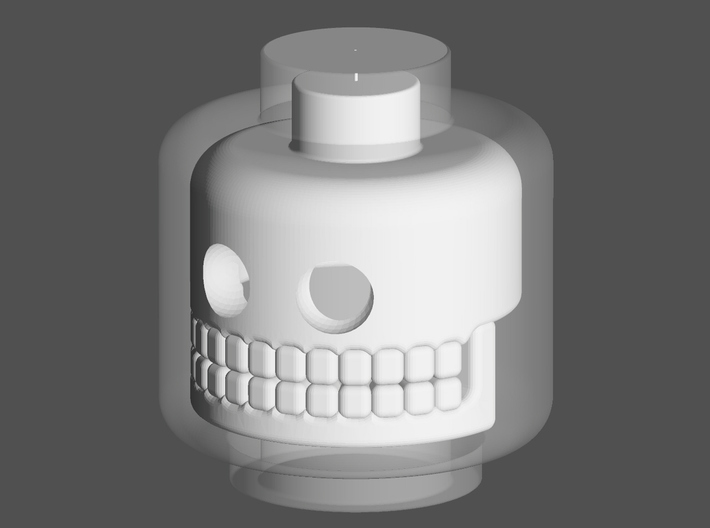 Head with skull within 3d printed