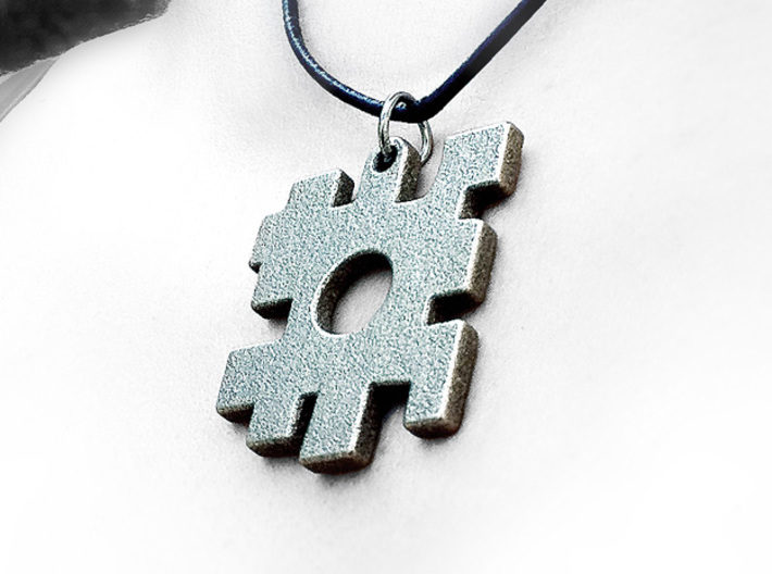 The missing piece pendant 3d printed Stainless Steel print