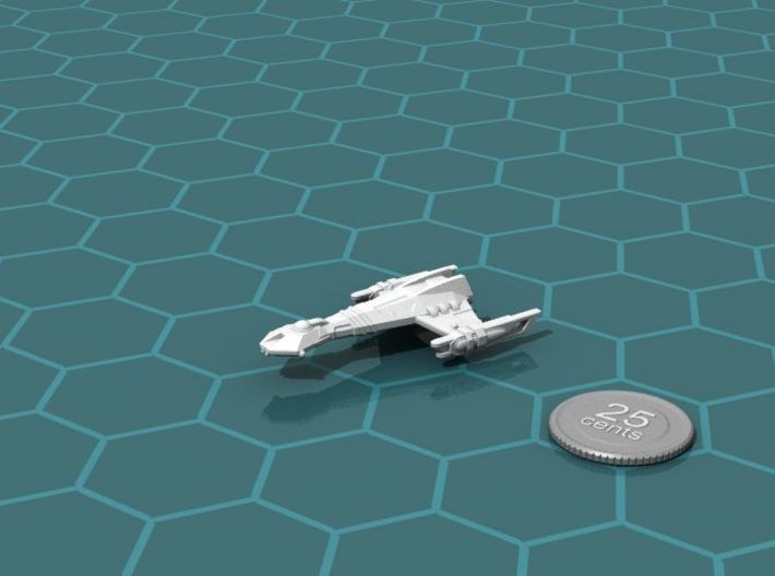 Ngaksu Tempest 3d printed Render of the model, with a virtual quarter for scale.
