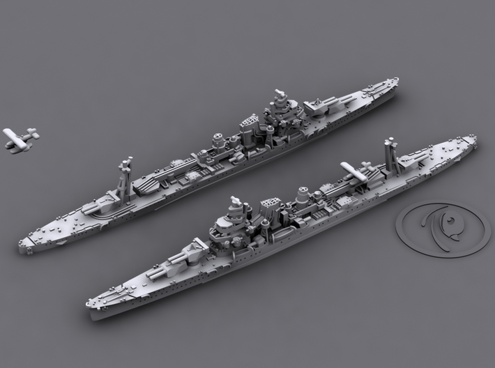 1/1800 IJN CA Furutaka[1942] 3d printed 3D software render, aircraft not included