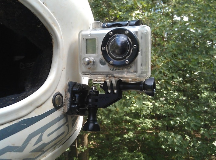 GoPro Compact 90 Degree Elbow Mount 3d printed Mounted on a helmet using the standard GoPro flat adhesive mount.