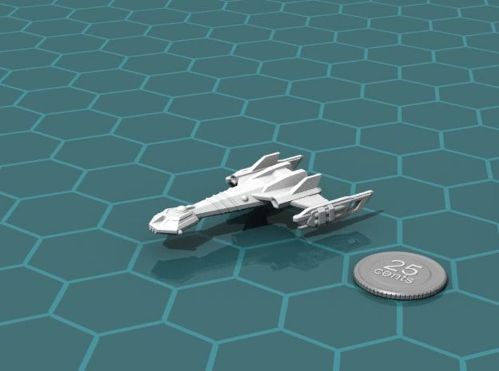 Ngaksu Typhoon 3d printed Render of the model, with a virtual quarter for scale.