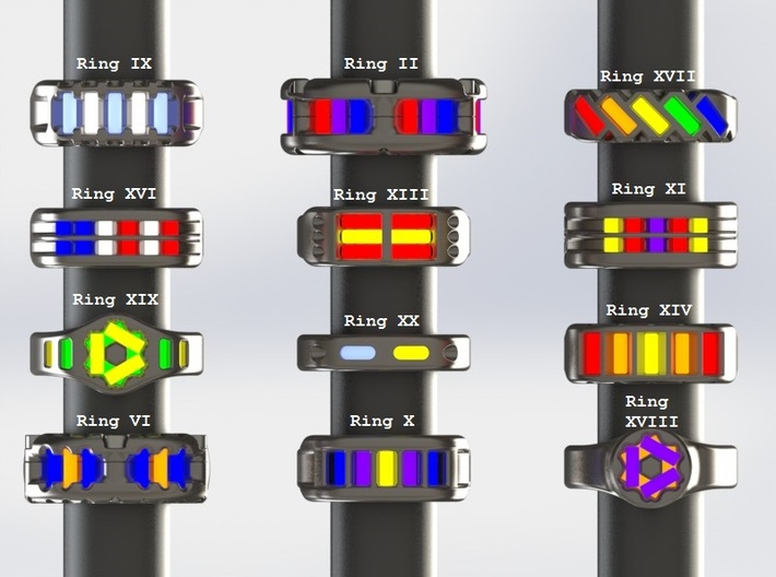 US14 Ring XVII: Tritium 3d printed This render shows the various ring designs that can made available and possible tritium vial arrangements.
