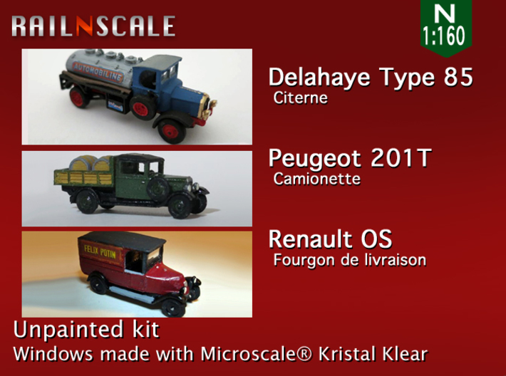 SET 3x Historic commercial vehicles (N 1:160) 3d printed
