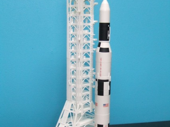 1/400 NASA LUT levels 3-7 (Launch Umbilical Tower) 3d printed A customers unfinished model with Saturn V Skylab & MLP.
