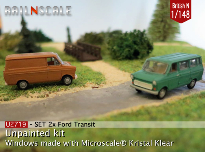 SET 2x Ford Transit (British N 1:148) 3d printed