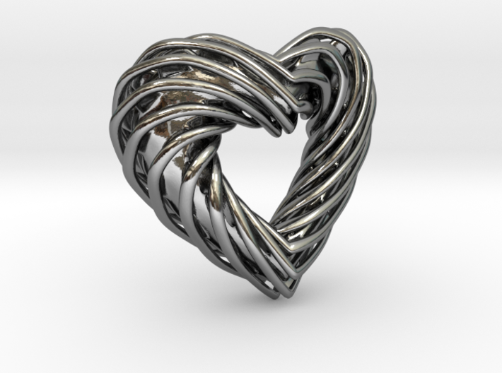 Pendant_SPH Curve Heart 3d printed