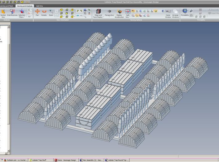 HO Lobster Trap Round Top End Eye 24 pack 3d printed