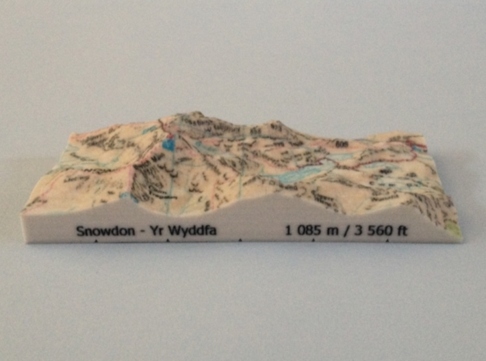 Snowdon - Map 3d printed Photo of Snowdon - Map model