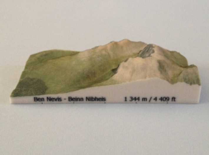 Ben Nevis - Photo 3d printed Photoof Ben Nevis - Photo model(note: new height of Ben Nevis of 1 345 m is now printed on the model)
