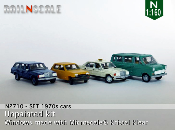 SET 4x 1970s cars (set B) 3d printed