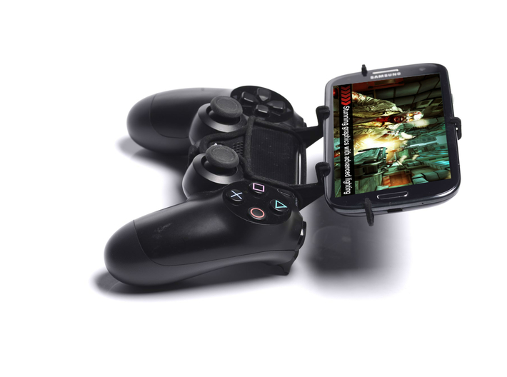 PS4 controller & Lava 3G 402+ 3d printed Side View - A Samsung Galaxy S3 and a black PS4 controller