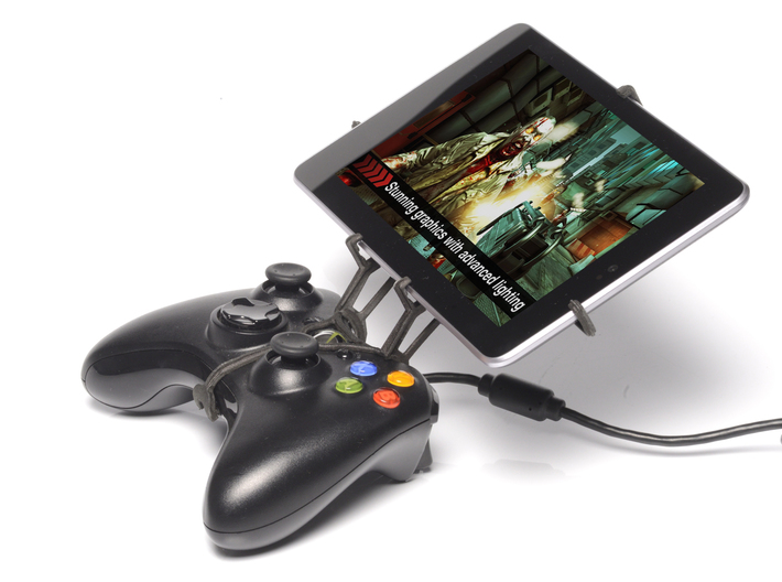 Xbox 360 controller & HTC Nexus 9 3d printed Side View - A Nexus 7 and a black Xbox 360 controller