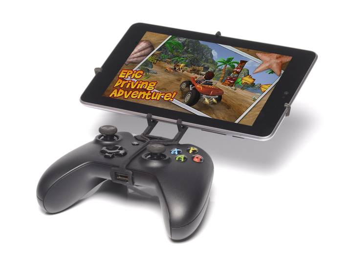 Xbox One controller & Huawei Honor Tablet 3d printed Front View - A Nexus 7 and a black Xbox One controller