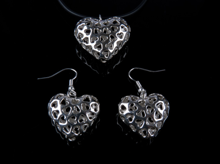 Small hearts, Big love (from $17.50) 3d printed Showing Pendant + Earrings
