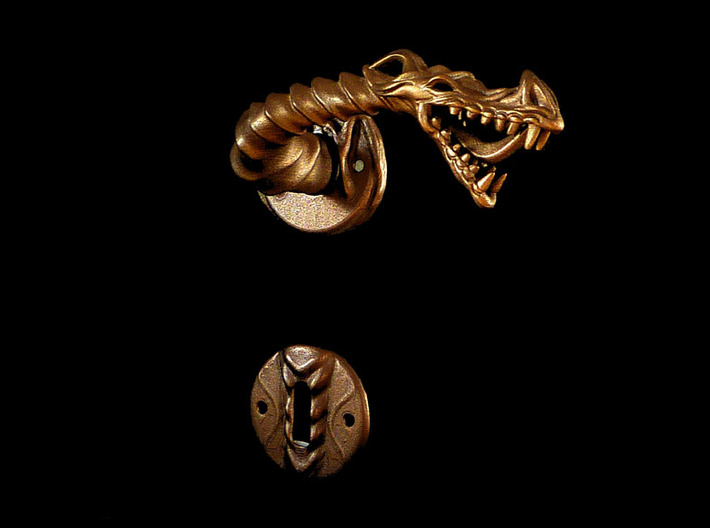 Dragon doorhandle 005 3d printed dragon doorhandle no.5 - 3D print in matte bronze steel