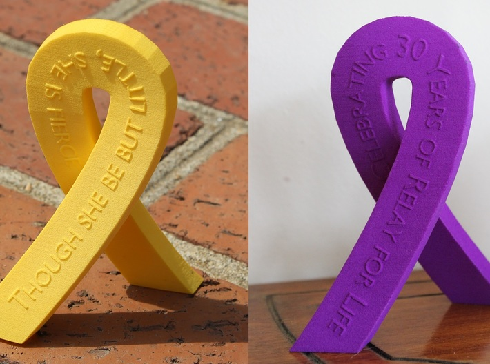 Standing Cancer Ribbon - Customizable 3d printed Add a caption...
