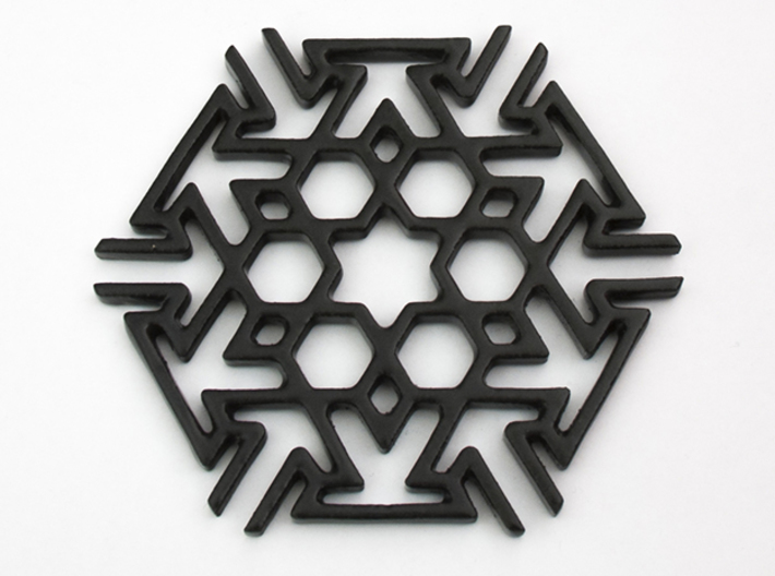Tileable Coaster - No2 3d printed Tileable Coaster in gloss Black Ceramics