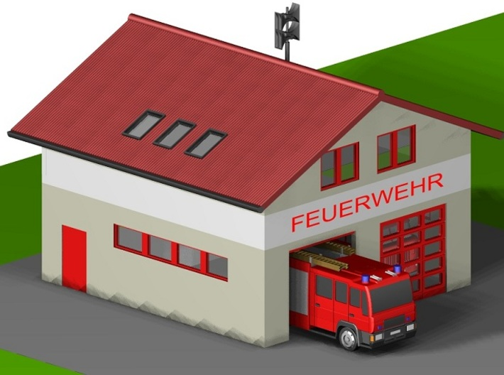 kleine Feuerwache/ little fire station (Z,1:220) 3d printed