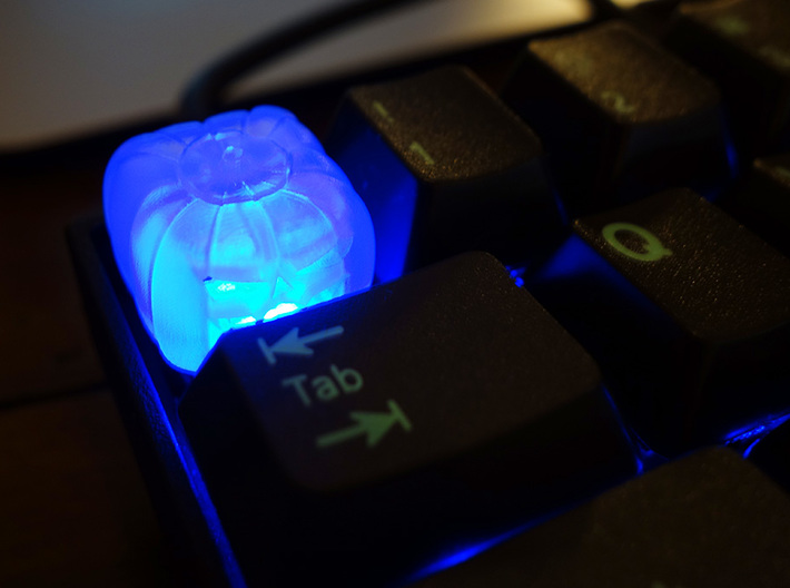 Pumpkin Keycap — Plastic & Resin 3d printed Frosted Ultra Detail with blue backlight