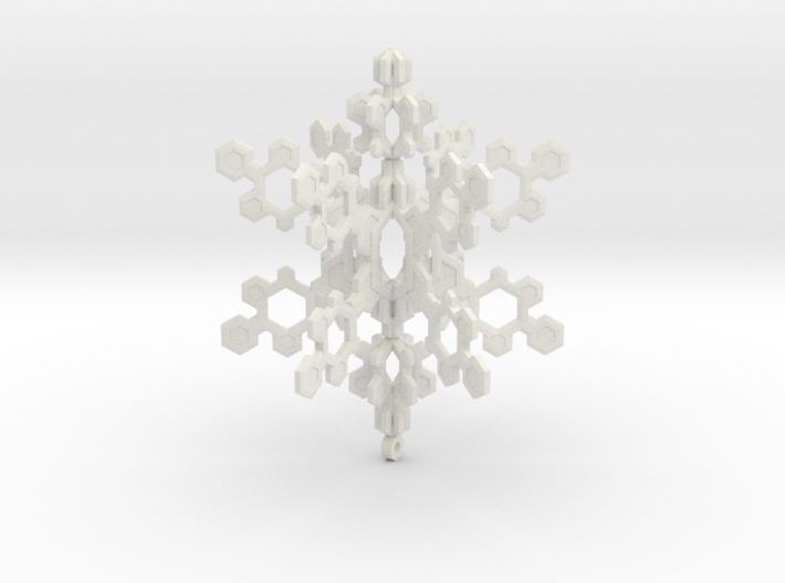 Small 3d Hex Based Snowflake 3d printed