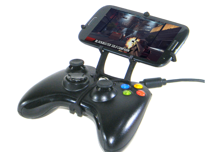 Xbox 360 controller & Maxwest Gravity 5.5 3d printed Front View - A Samsung Galaxy S3 and a black Xbox 360 controller