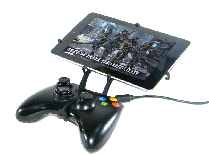 Xbox 360 controller & Asus Transformer Pad TF300T 3d printed Front View - A Nexus 7 and a black Xbox 360 controller