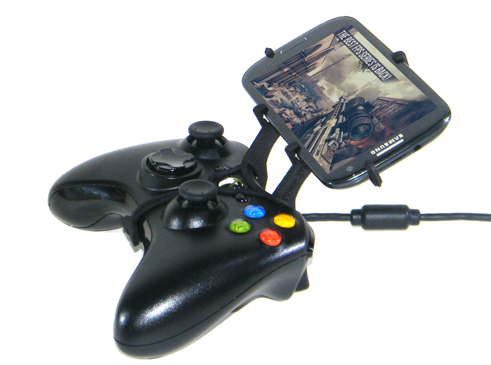 Controller mount for Xbox 360 & Micromax A110Q Can 3d printed Side View - A Samsung Galaxy S3 and a black Xbox 360 controller