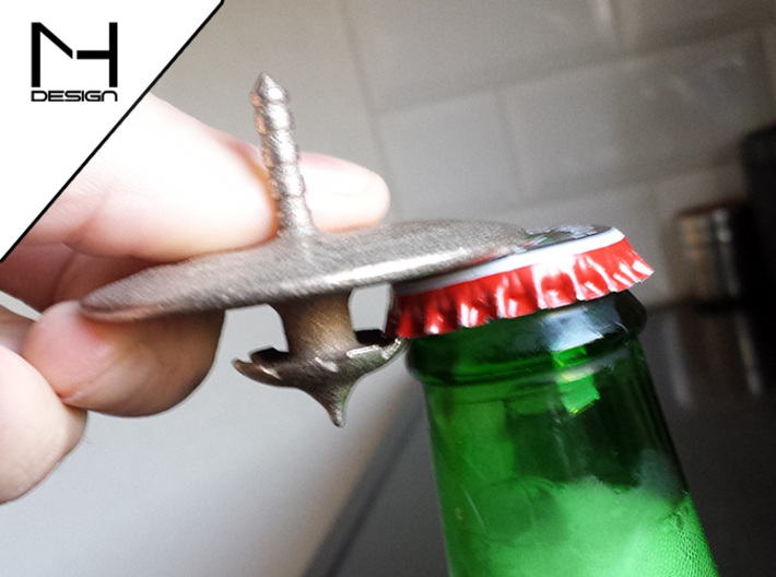 Spinning Bottle Opener 3d printed Opening a bottle of beer (this is v1, see renders for v2)