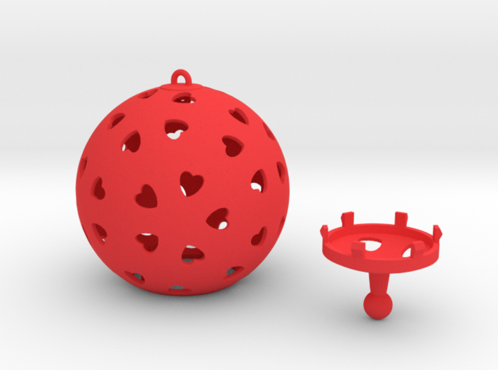 DRAW ornament - hearts large 2 piece 3d printed