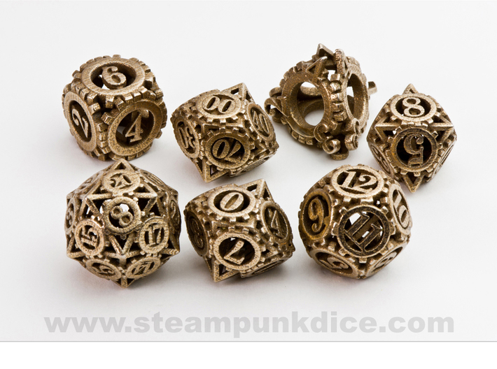 Steampunk Gear Dice Set 3d printed Stainless Steel