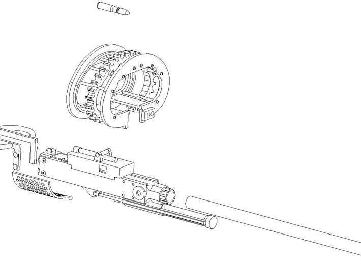 37mm M4 Cannon (multiple scales) 3d printed Drawing for assembly aid