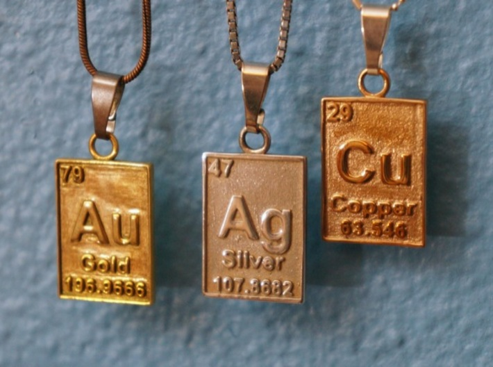 Silver periodic table pendant k4uj89axt by cbertucio silver periodic table pendant 3d printed with its friends gold copper urtaz Image collections