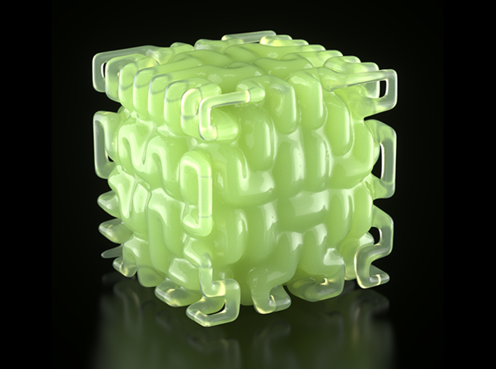 Smooth Hilbert Cube (hollow) 3d printed Image rendered in Maxwell Render.