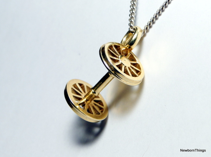 Pendant Train Axle 3d printed Pendant Train Axle in polished - Chain not included Brass