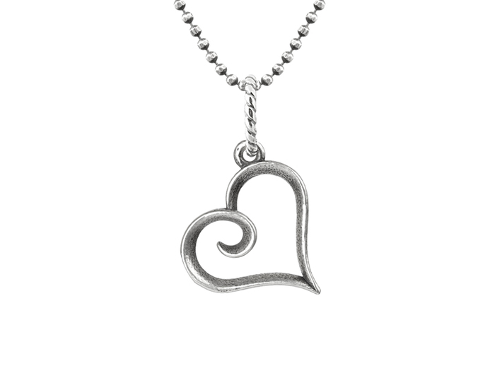 Tiny Heart Charm 3d printed Example of Raw Silver shown with a tumble polish and oxidation treatment. YOUR RAW SILVER CHARM WILL NOT ARRIVE OXIDIZED. JUMP RING AND CHAIN NOT INCLUDED.