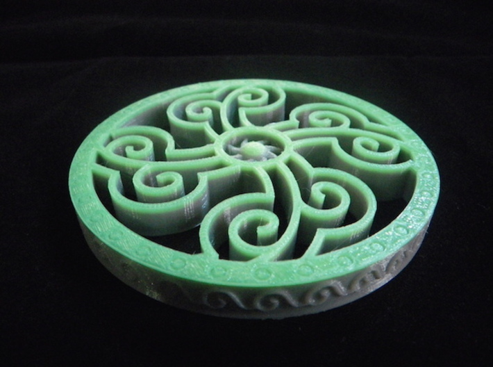 Four Elements Coaster 3d printed Printed at home using standard grey with a top layer of thermochromic plastic