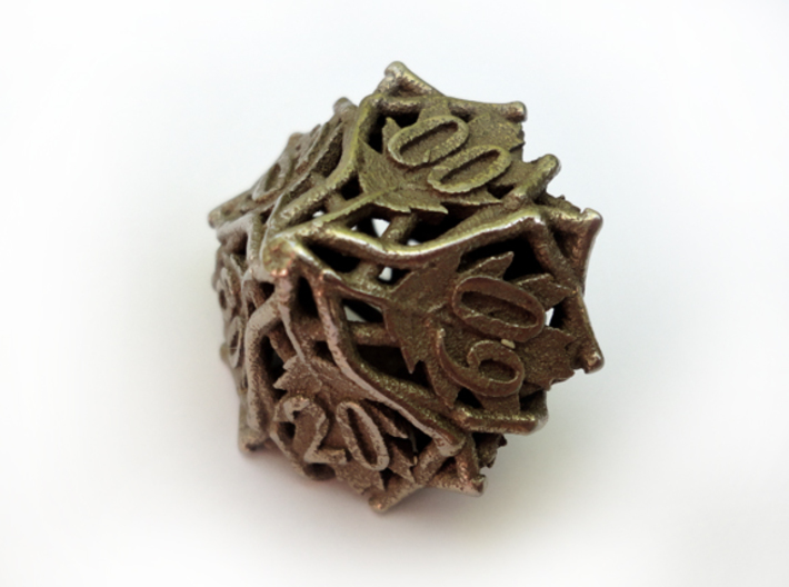 Botanical Decader d10 (Oak) 3d printed In stainless steel