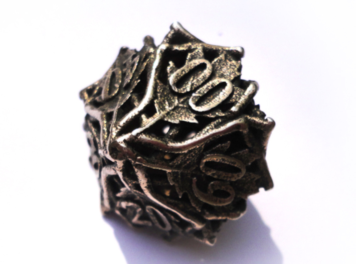 Botanical Decader Die10 (Oak) 3d printed In stainless steel and inked