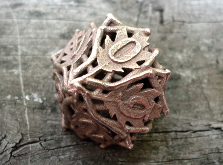 Botanical d10 (Oak) 3d printed In stainless steel